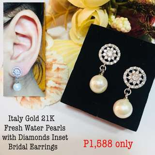 Italy Gold 21k Fresh Water Pearls with Diamonds Inset Bridal Earrings