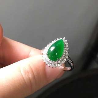 18K鑽石天然A貨老坑綠水滴戒指