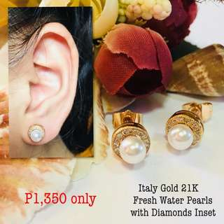 Italy Gold 21k Fresh Water Pearls