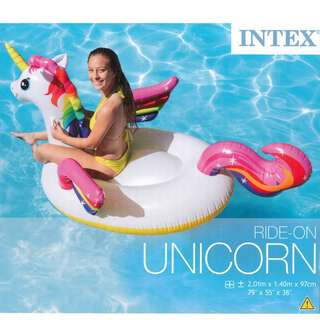 🚚 (Free Delivery) Intex Rainbow Unicorn Animal Ride On Inflatable Swimming Float