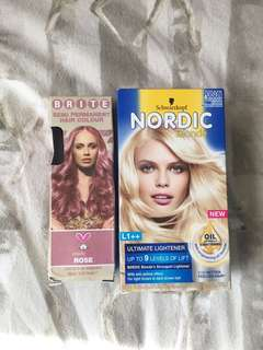 Brite Organix hair dye in Rose + hair bleach