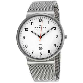 WHITE DIAL STAINLESS STEEL MESH MEN'S WATCH SKW6025