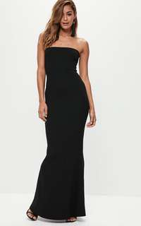 Missguided Black Crepe Bandeau Maxi Dress