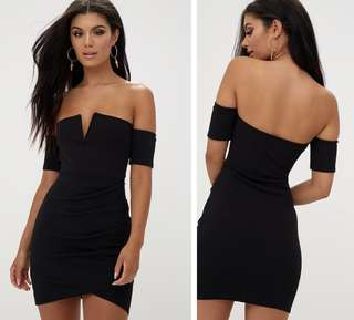 Bardot Wrap Front Bodycon Dress