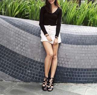 white button-up denim skirt