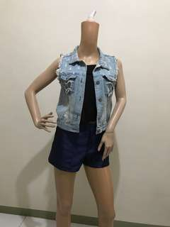 Free Shipping Size S Denim Ripped Crop Top Vest