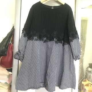日 日系 韓 韓風 蕾絲 直條紋 條紋 透膚 寬鬆 寬鬆版 縮口 傘擺 傘狀 長版上衣 小洋裝