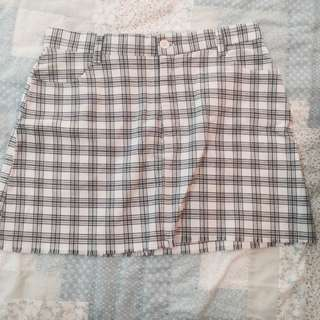 BN brandy Melville plaid blue and white gingham frayed juliette skirt authentic bm