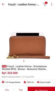 FOSSIL EMMA SMARTPHONE WALLET BROWN ORIGINAL