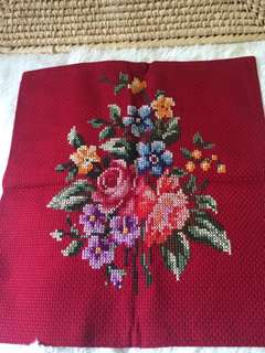 CROSS-STITCHED CUSHION COVER