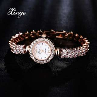 Xinge 3A Zircon Women Watches Crystal Luxury Dress Bracelet Wristwatches Women Quartz Watch Wheat Band Bracelet Watches Clock