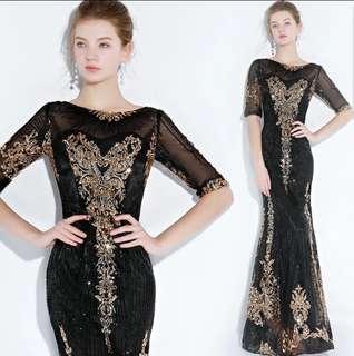 Black mermaid 3/4 sleeve dress / evening dress