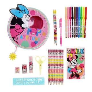 Japan Disneystore Disney Store Minnie Mouse POP Stationery Set Zip Case