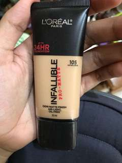Loreal Infallilbe Pro mate foundation 105 natural beige