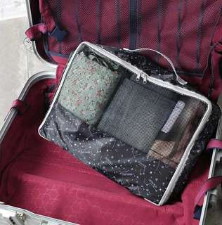 黑色星座卡通圖案旅行手提收納袋 衣物整理袋