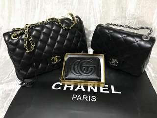 Chanel medium and small bag. Lamb skin