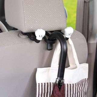 🚚 「開始日本預購」下單後6/25寄出。正版 米奇 迪士尼 車用雙掛勾 傘掛勾 汽車 頭枕 置物架 塑膠掛勾 NAPOLEX