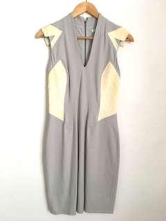 Helmut Lang Grey/Leather Dress