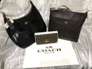 Coach large hand bag, sling bag and wallet