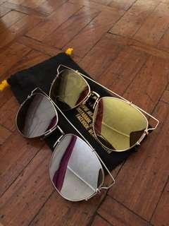Silver & gold mirrored sunglasses