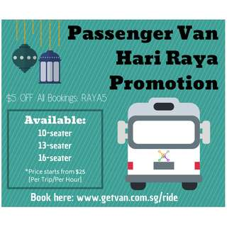 Hari Raya Passenger Van with driver