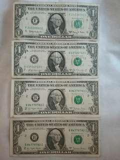 美元$1(4張) 其中兩張連號碼.