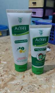 Acnes creamy wash + acnes tea tree oil clay mask