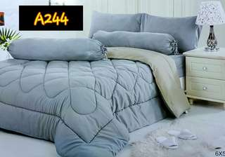Grey Fitted Bedsheets Set With Comforter