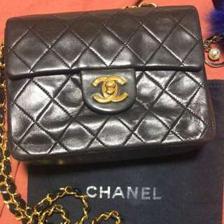 Chanel Vintage Mini Square Lambskin in Black with GHW
