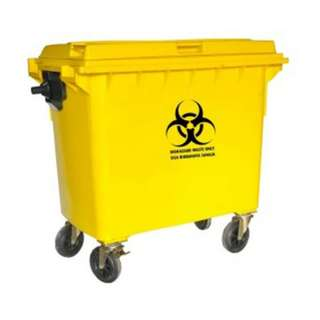 Biohazard Mobile Garbage Bin 4-Wheel (660 liters)