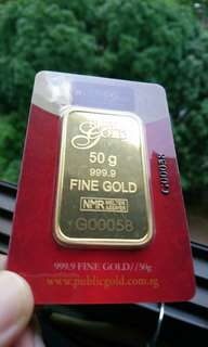 50gm Gold Bar 999.9 LBMA
