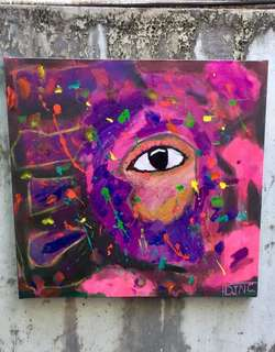 Abstract Neo expressionism painting 32x33.5 acrylic
