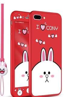 全新iPhone 7/8 plus 360度矽膠全包軟手機殼(白兔款)