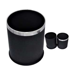 Room Bin Round Double Layer - Black Powder Coated Steel Outer