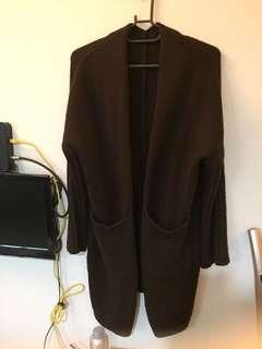 🚚 咖啡色毛線針織長版外套