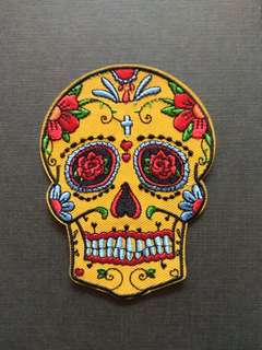 Dead Sugar Skull Rose Flower Iron On Patch
