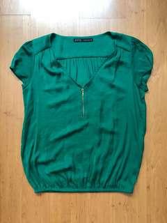 Zara TOP in emerald green