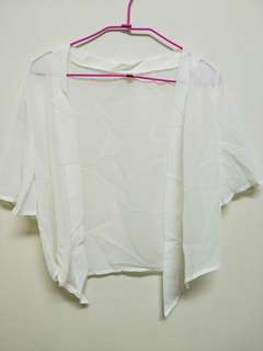 雪紡短版綁帶罩衫