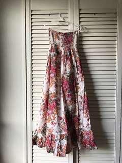 Floral Shabby Tube Dress