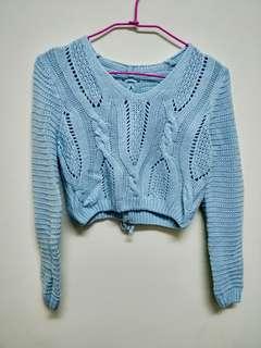 天空藍短版毛線衣