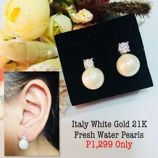 Italy White Gold 21k Fresh Water Pearls