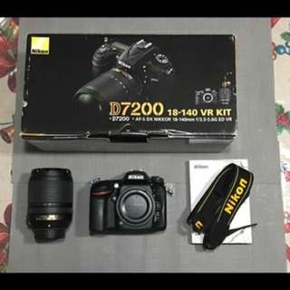 MODEL : NIKON D7200 + kitlens CONDITION: 10/10 , SC 4k+, Complete accessories with box  INCLUSIONS: 8G MCard ISSUES: No Camera Issue  RFS: upgrade camera