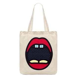 CRAIG KARL X Lane Crawford mouth print tote shopping bag