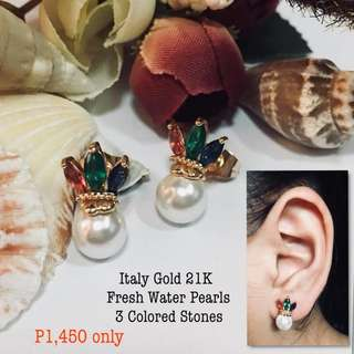 Italy Gold 21k Fresh Water Pearls 3 Colored Stones