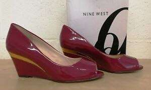 Size 11/42 Nine West Red/Plum wedges