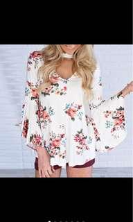 Long Sleeve V Neck Floral Printed Blouse