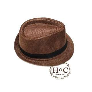 Houseofcuff Topi Fedora Hat DARK BROWN LISTED FEDORA HAT