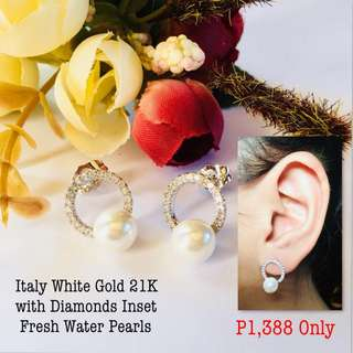 Italy White Gold 21k with Diamonds Inset Fresh Water Pearls Earrings