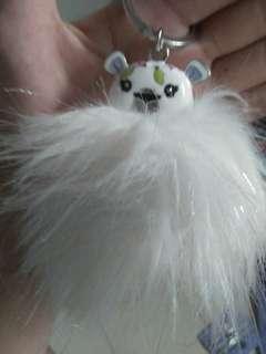 White puffy cute key chain