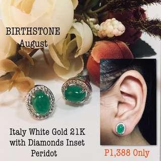 Italy White Gold 21k with Diamonds Inset Peridot